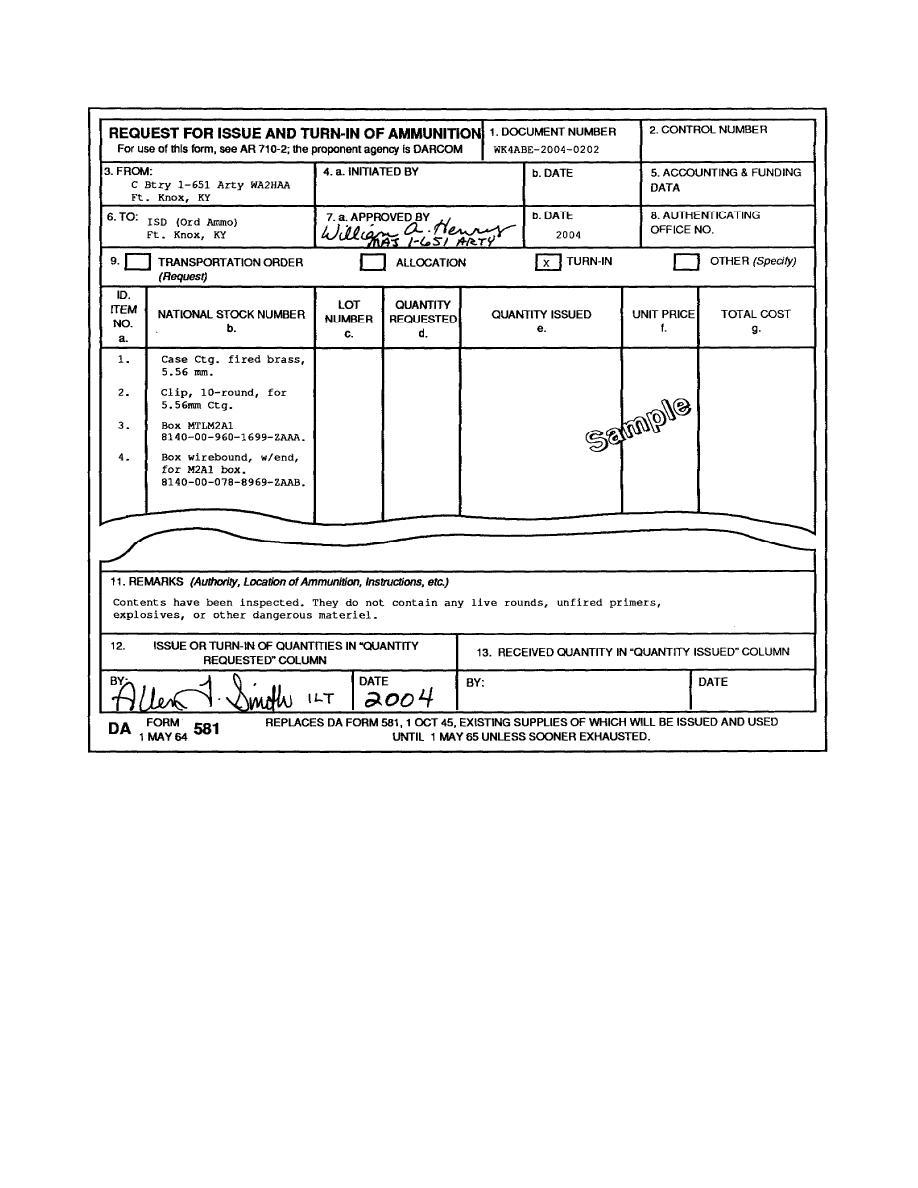 Figure 3. Sample DA Form 581 as a turn-in.
