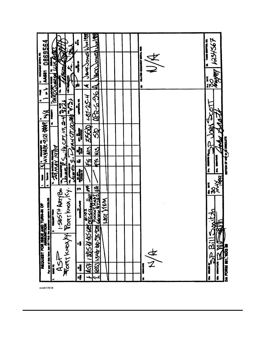 Figure 2-1. DA Form 581 (Request for Issue and Turn-In of Ammunition)