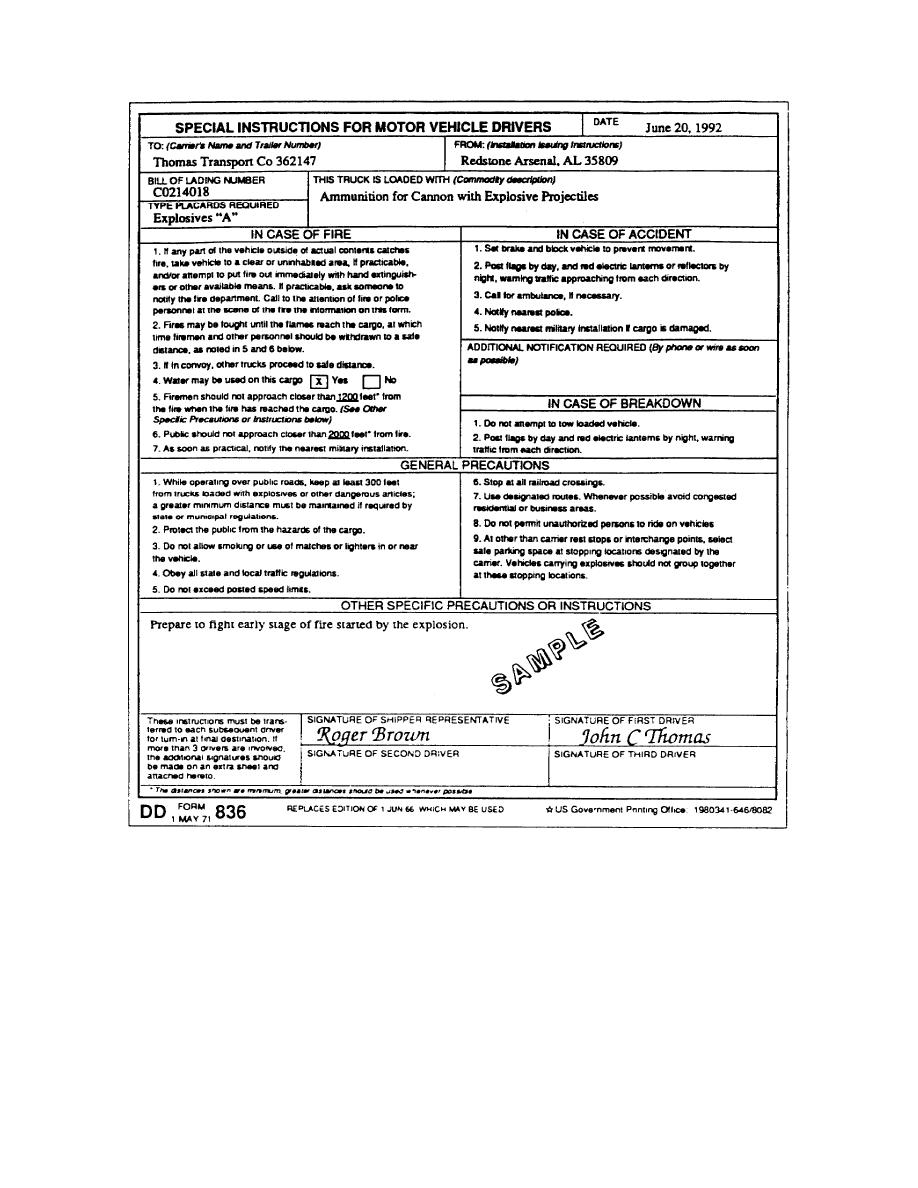 Figure 3. DD Form 836 (Special Instructions for Motor Vehicle Drivers)