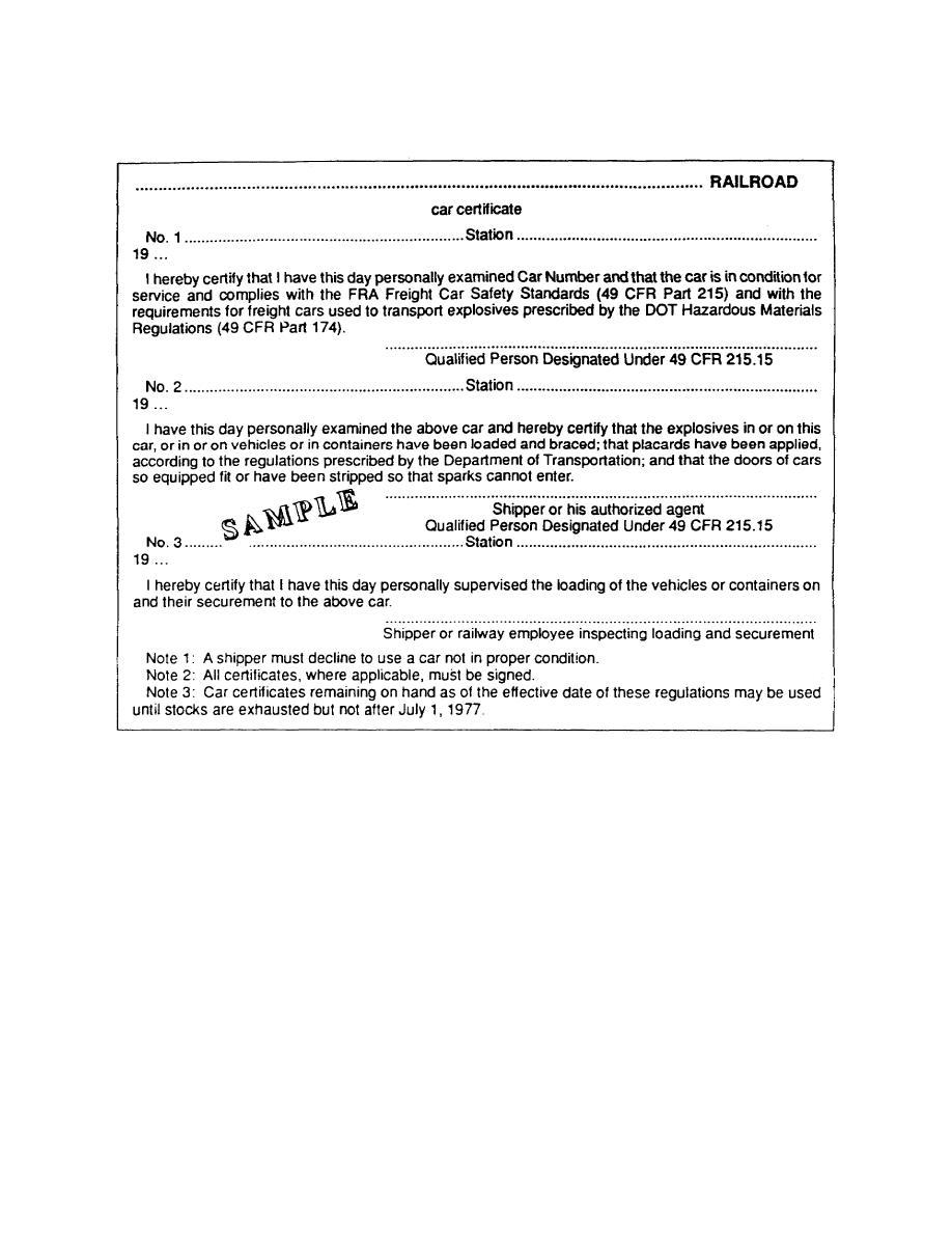 Figure 15 railcar certificate for 10 cfr 20 appendix b table 2