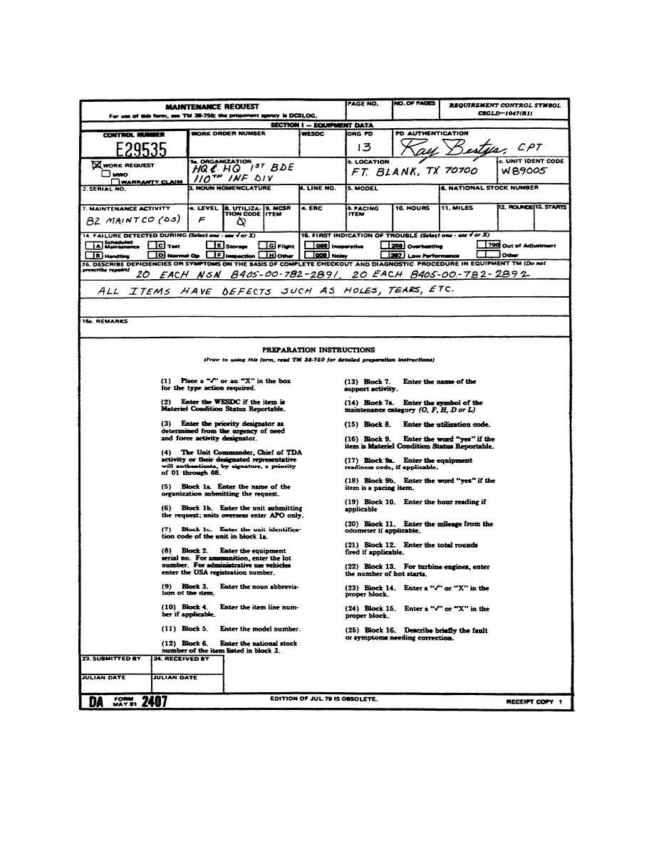 Figure 1-6. DA Form 2407.